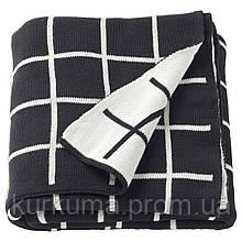 IKEA ALMALIE Плед, черный, белый  (603.522.78)