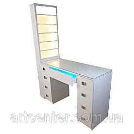 Маникюрный стол с УФ-лампой, стол маникюрный с витриной для лаков