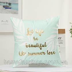 Декоративная подушка велюровая с золотистими элементами