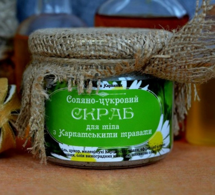 """Соляно-сахарный скраб для тела """"С карпатскими травами"""", 450 г"""