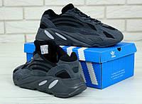 Кроссовки мужские в стиле Adidas Yeezy Boost 700 Black (Реплика ААА+)
