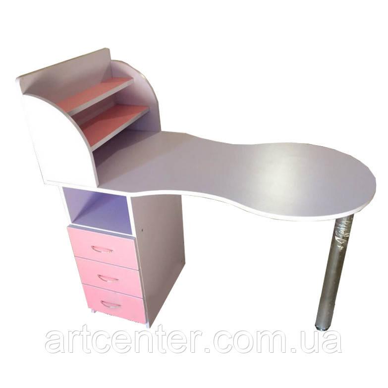 Маникюрный стол розовый с бортиками на полочках