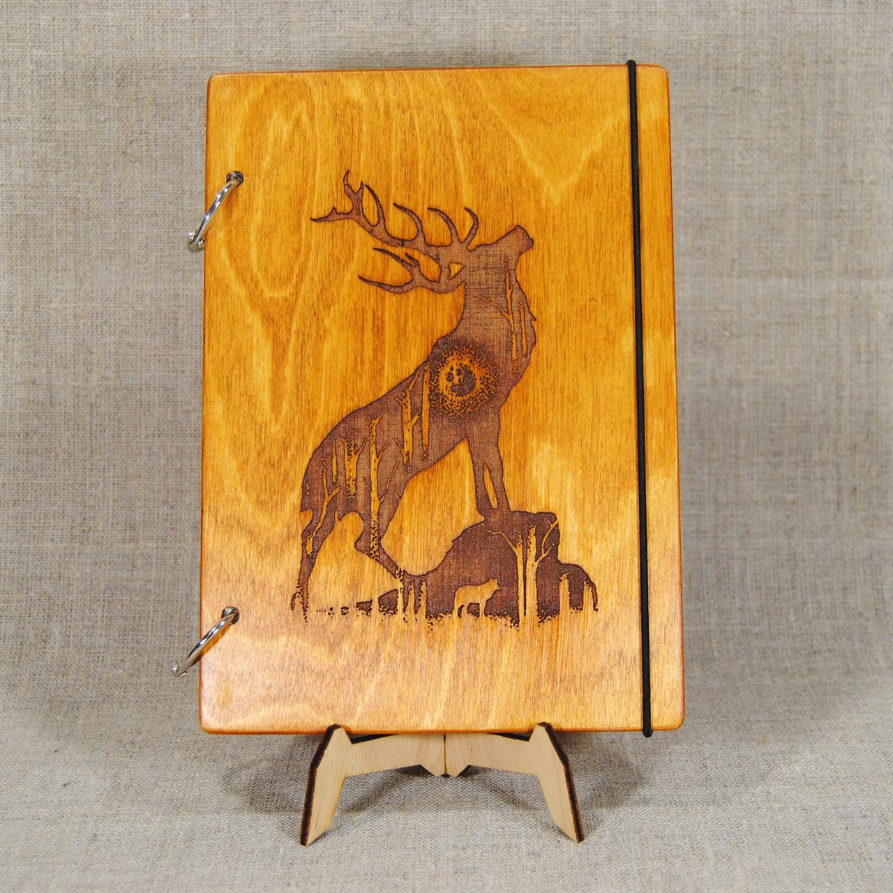Скетчбук Олень. Блокнот с деревянной обложкой.