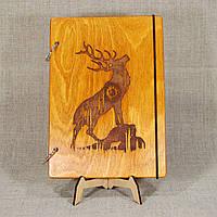 Скетчбук Олень. Блокнот с деревянной обложкой., фото 1