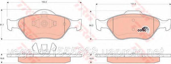 Тормозные колодки TRW GDB1419 на Ford Fusion / Форд Фьюжн