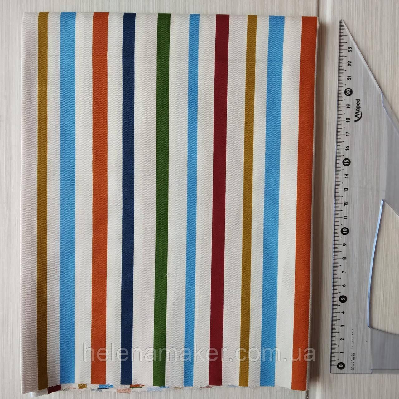 Ткань в разноцветную полоску  40*50 см