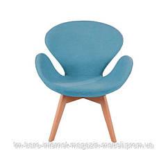 Кресло Сван Вуд Армз голубой, бук, ткань