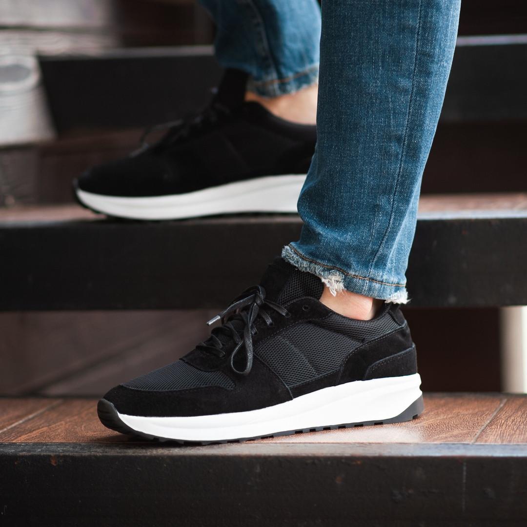 Мужские кроссовки South Soft Step black. Натуральная замша