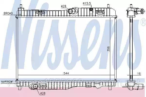 Радиатор охлаждения двигателя Nissens 66858 на Ford Fiesta / Форд Фиеста