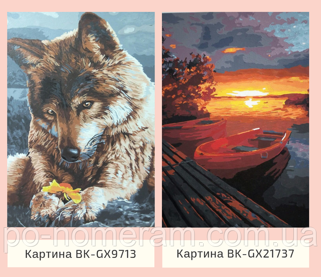 Картина по номерам без коробки Волк с цветком купить Брашми