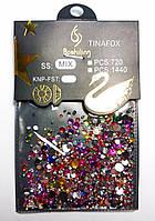 Камни Сваровски для дизайна ногтей 720 шт, фиолетовый микс