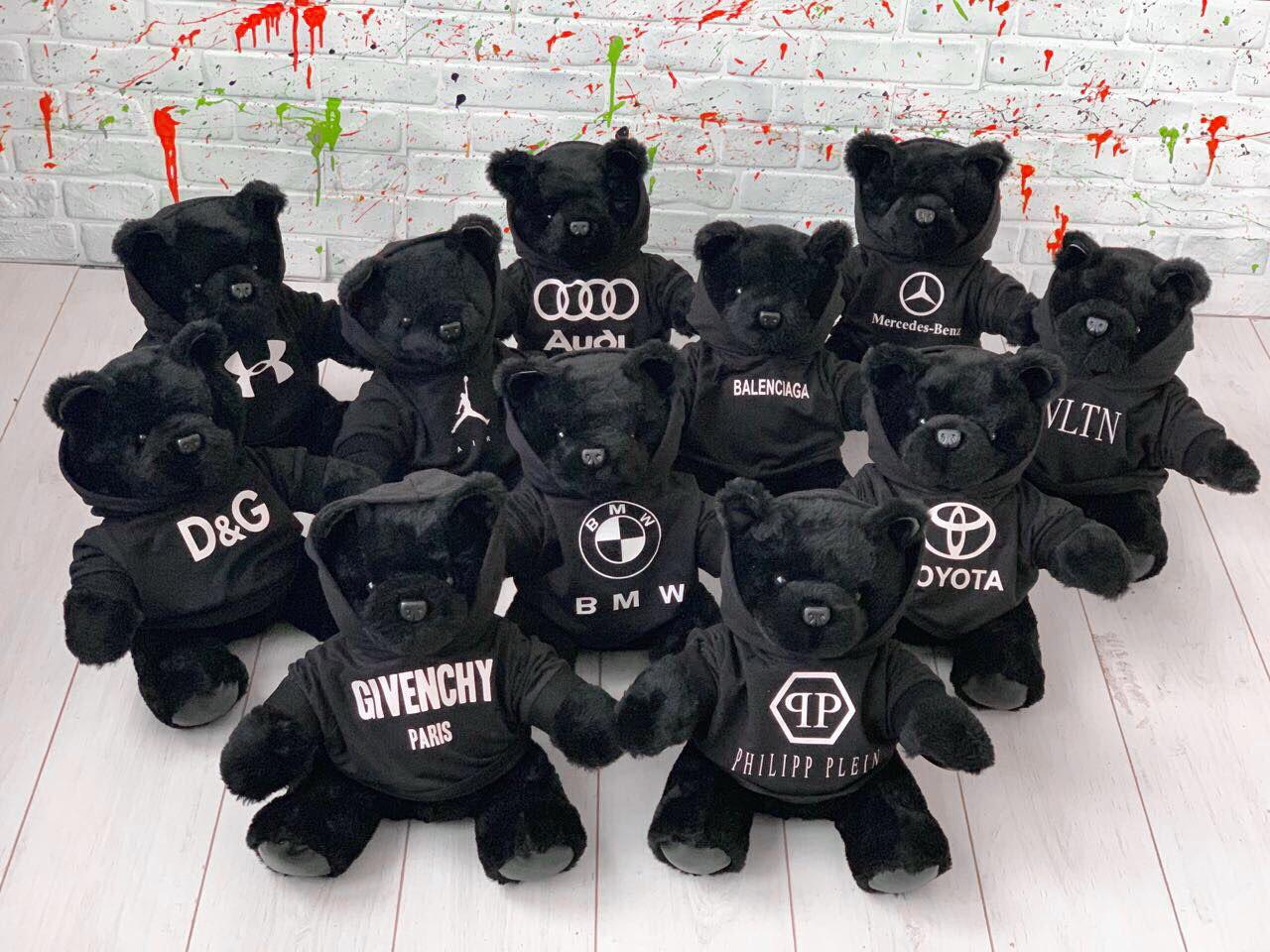 Мишка в брендовом балахоне D6454 черный