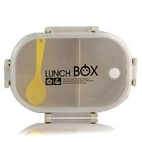 Ланчбокс c ложечкой из экологического сырья 2 отделения Lunch Box бежевый