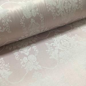 Ткань сатин с рисунком, цветы розовые на розовом (ТУРЦИЯ шир. 2,4 м) ОТРЕЗ(размер 1,45*2,4м)
