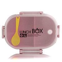 Ланчбокс c ложечкой из экологического сырья 2 отделения Lunch Box розовый 149051