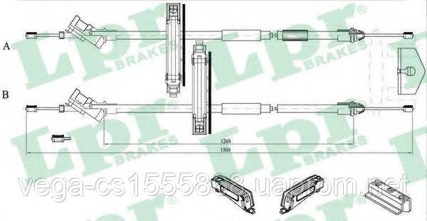 Трос ручного тормоза LPR C0225B на Ford Focus / Форд Фокус