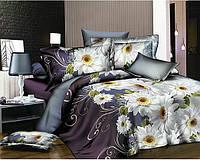 Полуторное постельное белье бязь gold - Герберы на фиолетовом