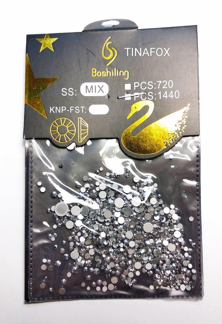 Камни Сваровски для дизайна ногтей 720 шт, серебряный микс