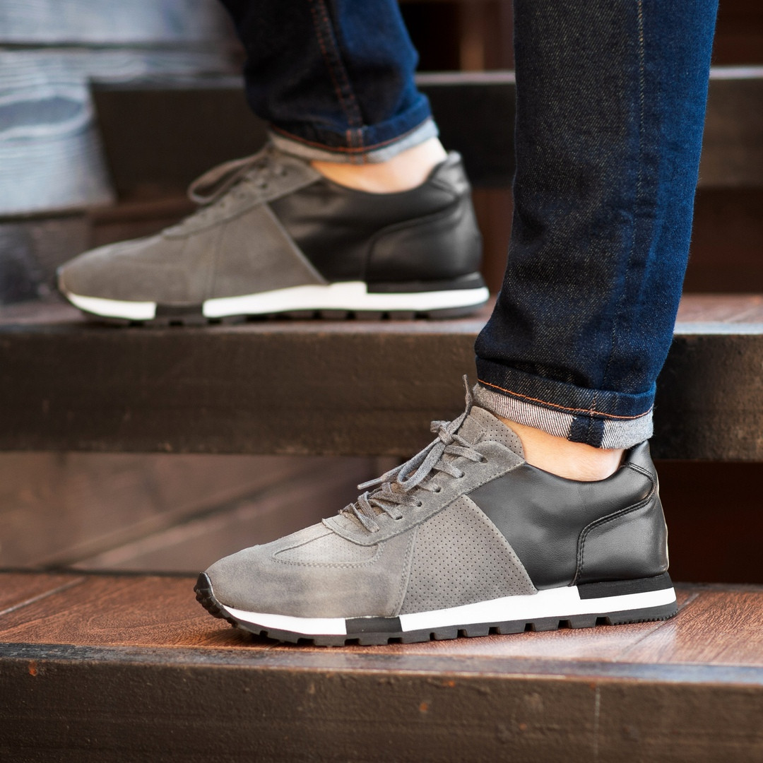 Мужские кроссовки South Flyxx gray. Натуральная замша, кожа