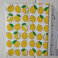 Сатин Желтые лимоны на белом фоне. Отрез 40*50 см