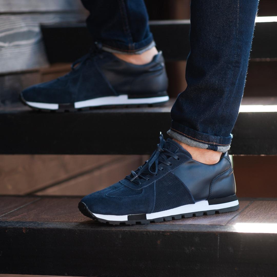 Мужские кроссовки South Flyxx blue. Натуральная замша, кожа