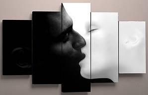Картина модульная черно-белая Поцелуй 125х70