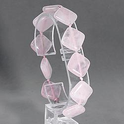 Розовый кварц, 15*15 мм., браслет, 173БР