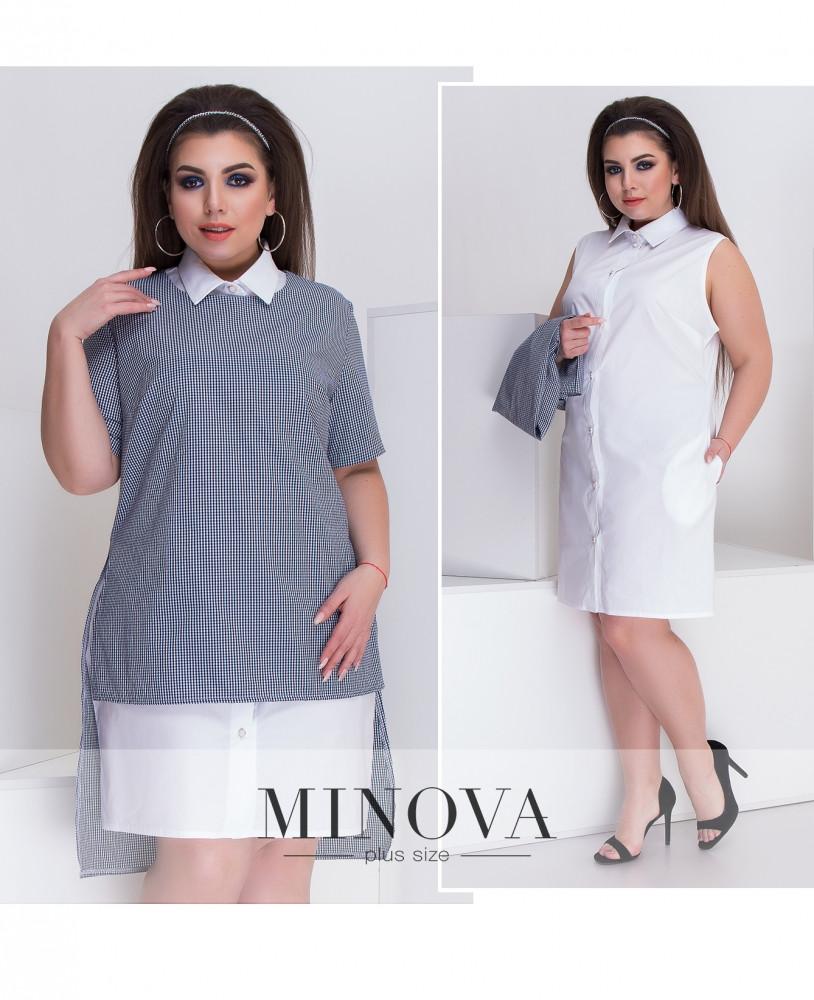 e9833c3c1c8 Платье-рубашка с удлиненной жилеткой из котона (размеры 50-60) - Интернет