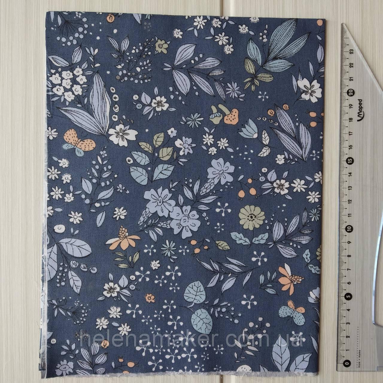 Відріз сатину Рослинний орнамент на синьому тлі. Відріз 40*50 см