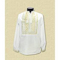 Мужская сорочка вышиванка белая с золотым - Низанка