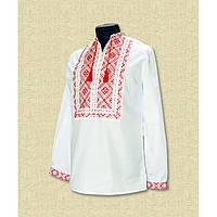 Мужская сорочка вышиванка белая с красным - Низанка