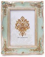 """Фоторамка Tudor """"Розы"""" для фото 12.5х17.5см (мятный с золотом)"""
