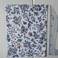 Отрез сатина Синий растительный орнамент на белом фоне. Отрез 40*50 см