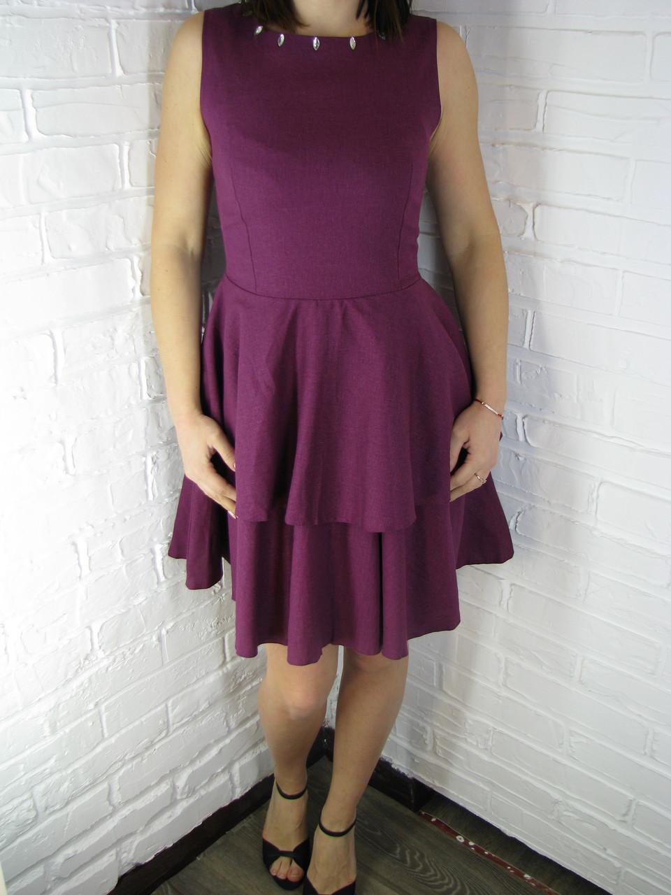 "Сукня жіноча з воланами ""Надія"" фіолетове 42"