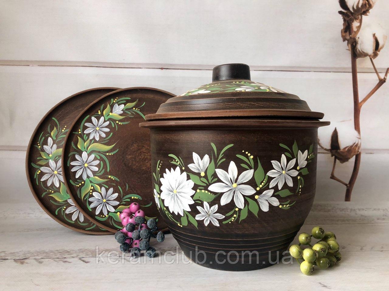 Набор из красной глины бочонок 5 л и 2 тарелочки 25 см с рисунком
