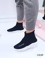 Женские кроссовки Balenciaga Баленсиага черные текстиль (реплика), фото 1