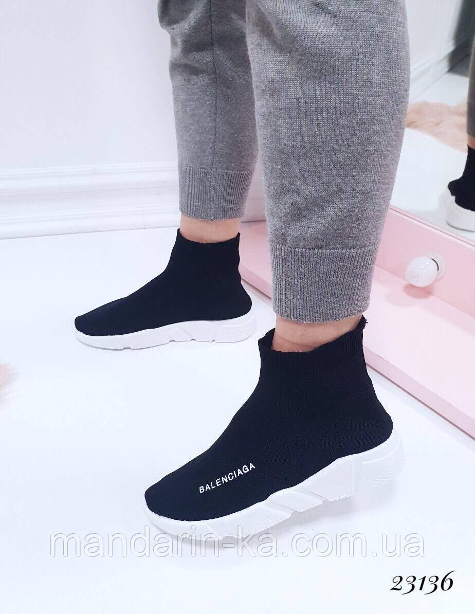Женские кроссовки Balenciaga Баленсиага черные текстиль (реплика)