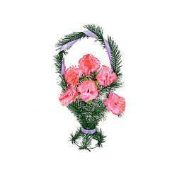 """Траурный венок корзина """"Розовые Гвоздики"""" высота 50см"""