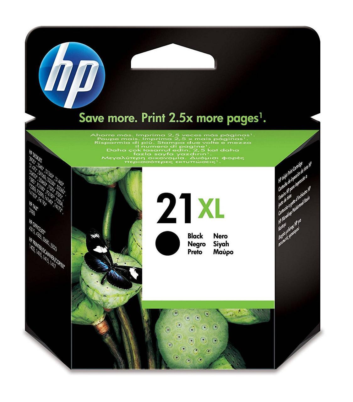 HP 21XL - Оригинальный картридж с высокой производительностью, черный