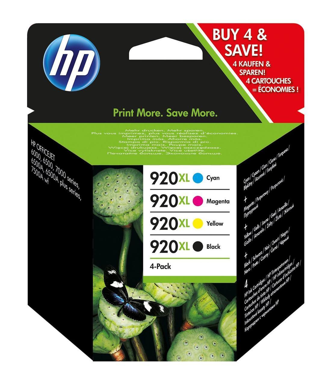 HP 920 XL - Оригинальные картриджи (подходит для HP Officejet), черный / синий / пурпурный / желтый