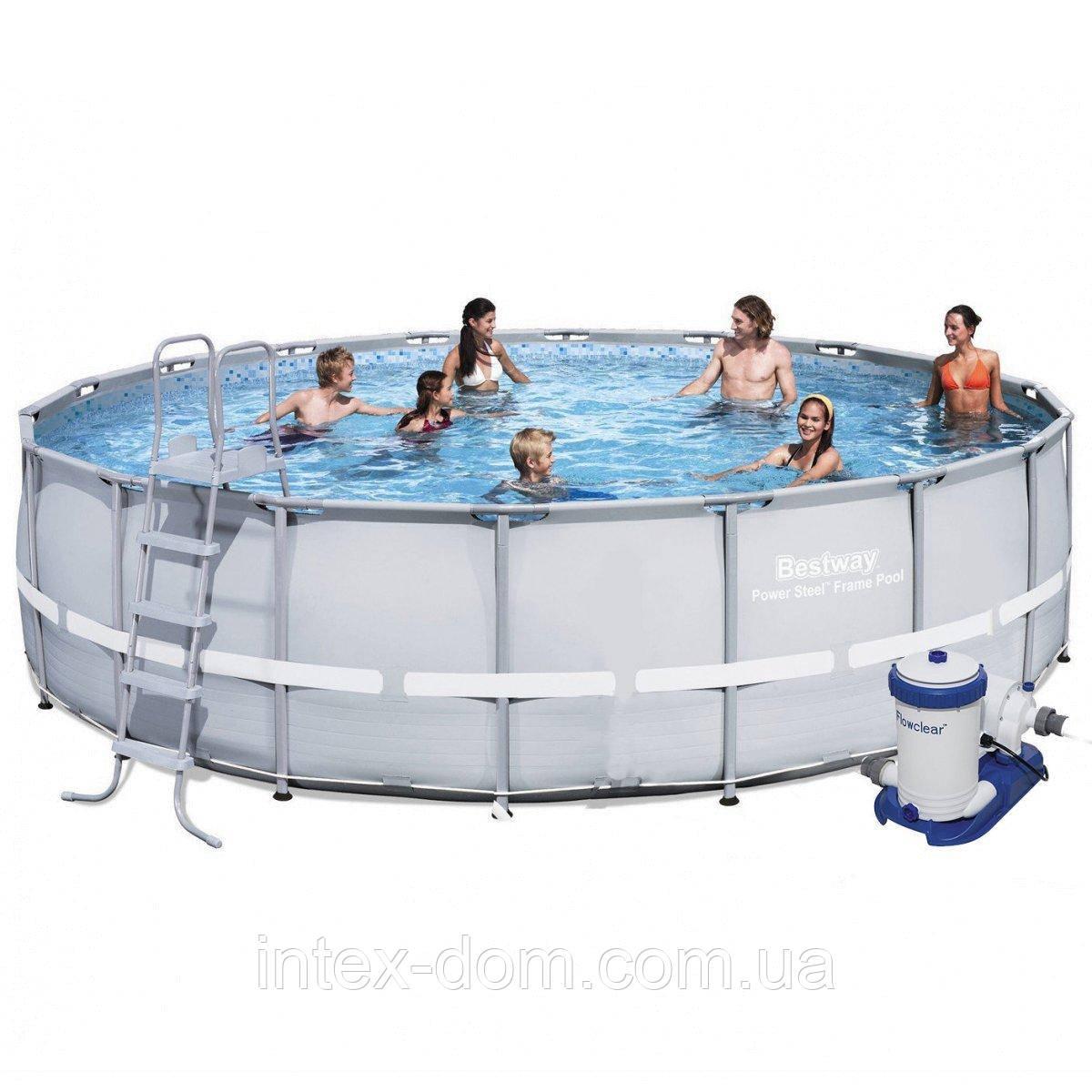 Каркасный бассейн Bestway 56705, 671 х 132 см (9 463 л/ч, лестница, подстилка, тент)