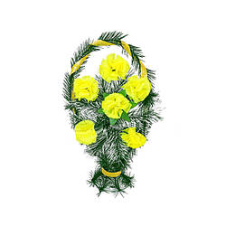"""Траурный венок корзина """"Лимонные Гвоздики"""" высота 50см"""
