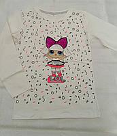 Белый реглан с куклой LOL для девочек 104-110-116-122-128 роста