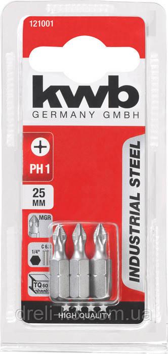 Биты PH1 25 мм 3 шт KWB