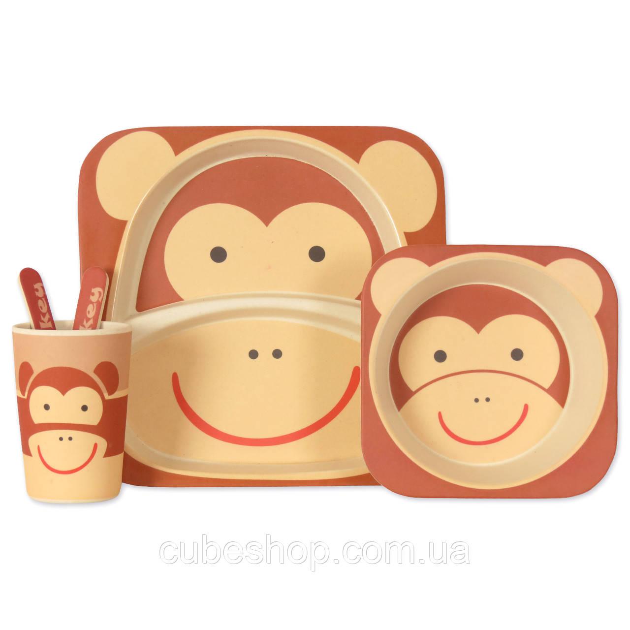 Набор детской посуды из бамбукового волокна Monkey