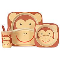 Набор детской посуды из бамбукового волокна Monkey, фото 1