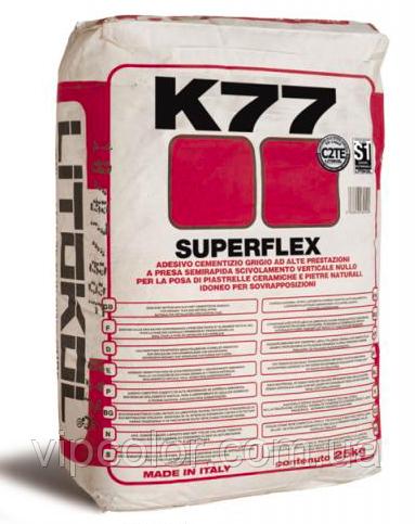 Цементный плиточный клей Litokol Superflex K77 20 кг белый