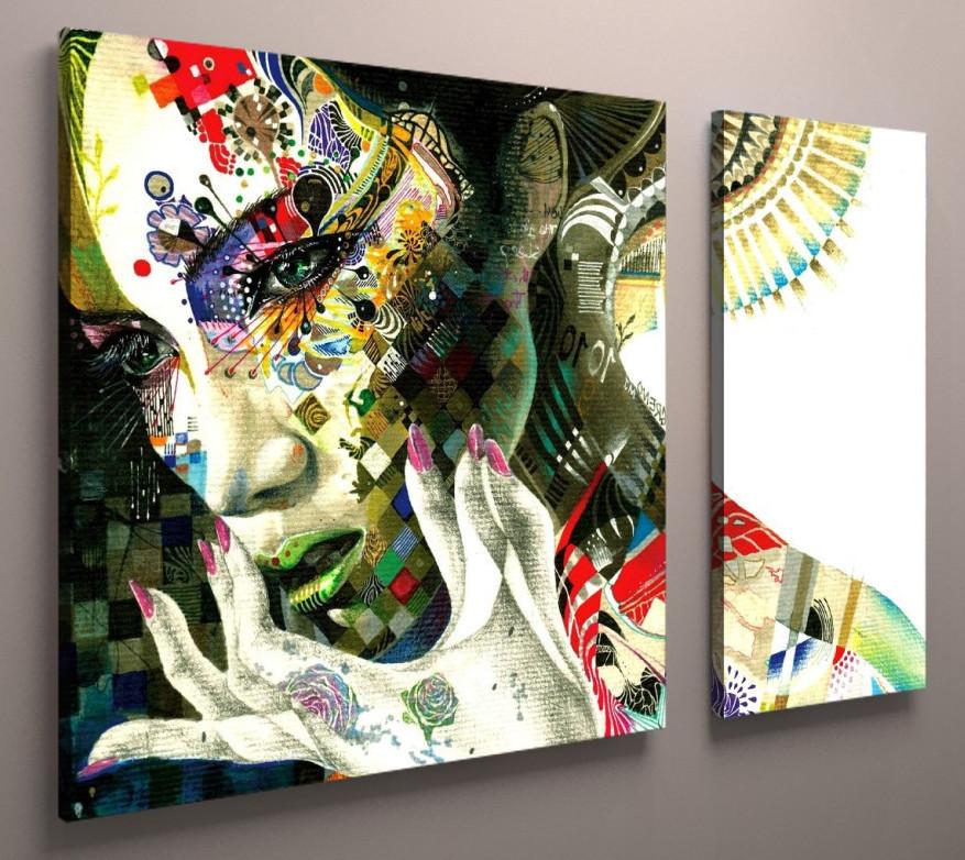 Картина-диптих Дівчина з квітам 100х60