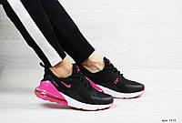 Весенние женские кроссовки Nike Air Max 270,сетка,черные с розовым