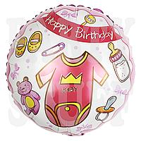 Фольгированный шар С днем рождения розовый Китай, 45 см (18')